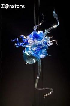 Livraison Gratuite 110v / 120v 100% Lampe Moderne Style Simple Italien Moderne Lustre En Verre Soufflé à Blue Pendant Light
