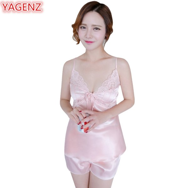 YAGENZ Pajamas For Women Set Ice Silk Sling Women Pajamas Set Two Piece Tops And Shorts lingerie Pyjamas Womens Summer Pants