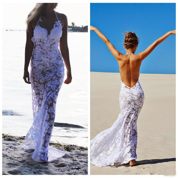 2019 Sexy See Through Full Lace Wedding Gowns Summer Beach Spaghetti Halter Backless Bridal Party Dress Bohemain Style