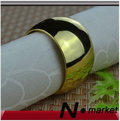 Free Shipping Factory Direct Sale Alloy Round Golden Napkin Rings Hotel Circular Napkin Holder For Wedding Party