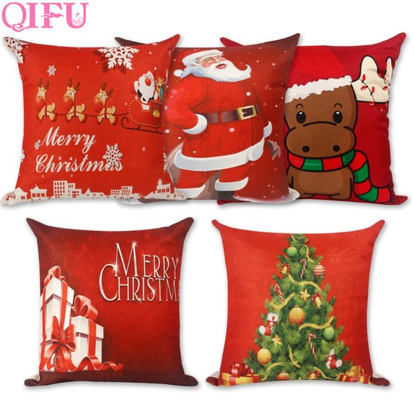 QIFU Merry Christmas Decorations For Home Decoration Christmas Ornaments 2018 Decor Pillow Case Happy New Year 2019