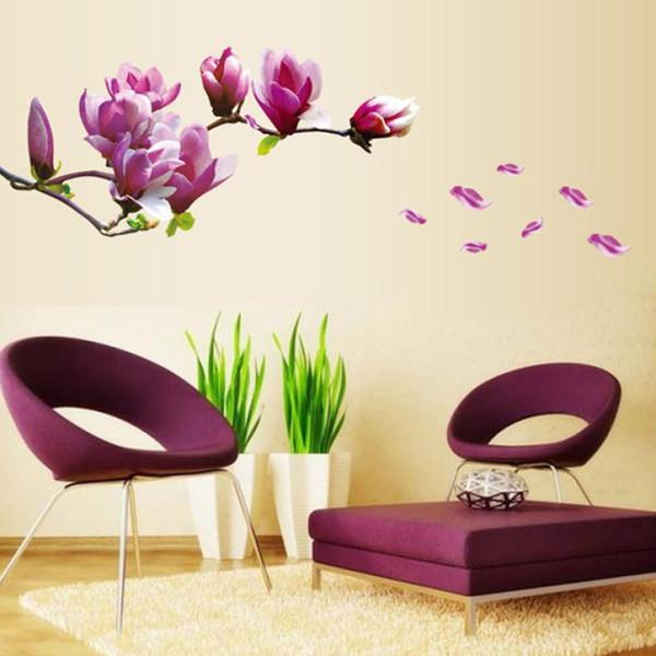 Yeni Yıl Taze Doğa Manolya Çiçek Duvar Sticker Çıkartması Çıkarılabilir PVC Duvar Sticker Ev Dekor için noel süslemeleri ev