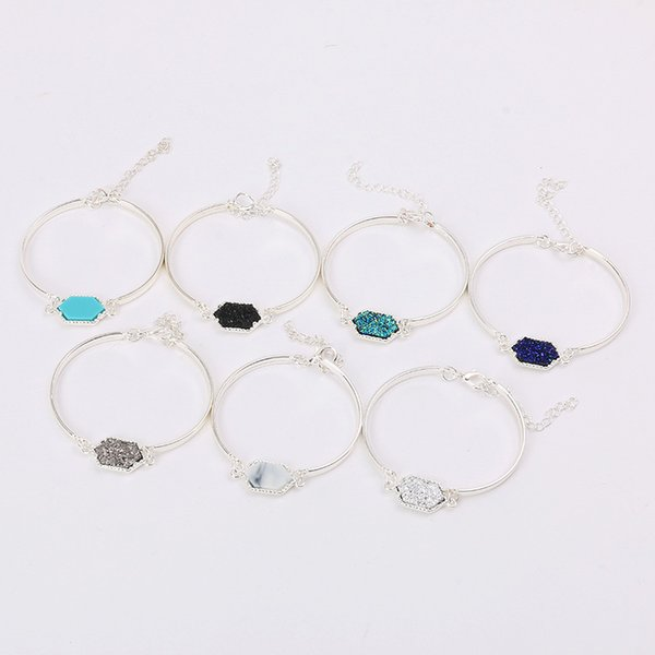 Resin Stone Drusy Bangle Bracelets Kendra Styles Druzy Drusy Bracelets Scott Silver Plated Women Lady Wedding Jewelry