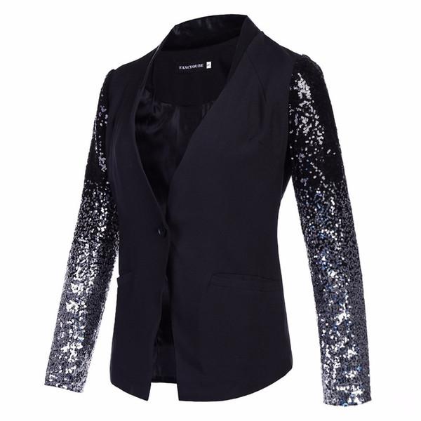 women suit blazer coat sequin stitching single button slim black suit for ol women female lady outerwear