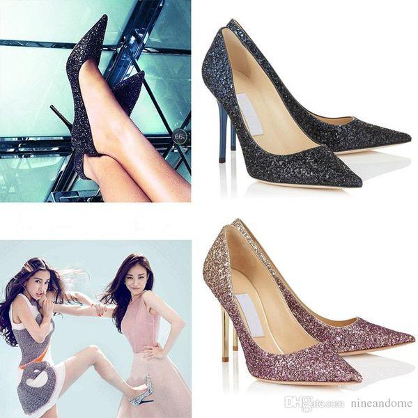 Gradient Sequin Black Blue Golden High Heel Shoes Europe Luxury