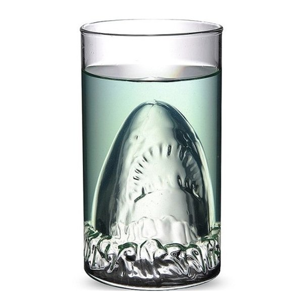 Personality Creative Funny Spirit Big Shark Handmade Glass Beer Red Wine Glass Double Glass Drinking Bar Cup Glassware 300ML