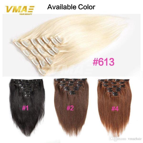 VMAE Clip nelle estensioni dei capelli umani 7 pezzi colore nero naturale 613 Clip di capelli brasiliana Cosplay in capelli Set completo di testa 120g