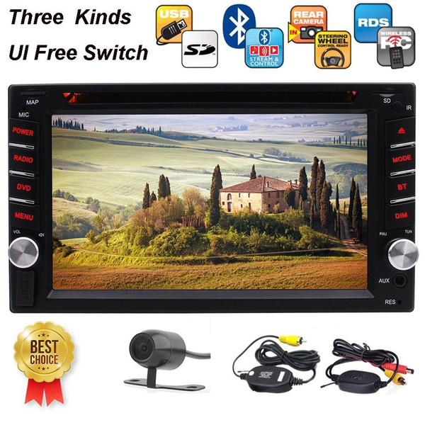 Wireless Camera+6.2'' Double Din Stereo Receiver Bluetooth 1080P car DVD/MP3/MP4 Player AM/FM Radio Color Button Microphone SD Memory Card