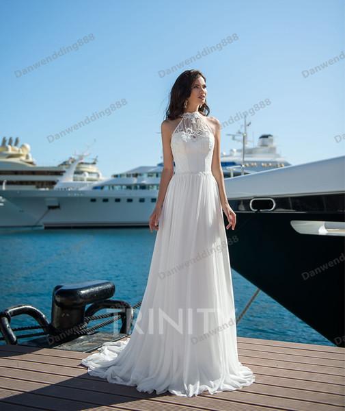 Beauty White Chiffon Halter Applique Beads Sheath Wedding Dresses Bridal Pageant Dresses Wedding Attire Dresses Custom Size 2-16 ZW713277