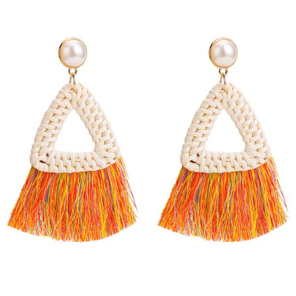 Pendientes de gota hechos a mano del triángulo de la rota Pendientes de la borla del color de Bohemia Pendientes de aleación de las mujeres de la vendimia Chapado en oro Accesorios de la joyería al por mayor