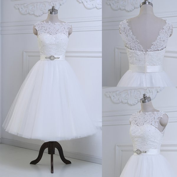 Discount Discount Wedding Dress High Neck Wedding Dress Tea Length Bridal Gowns Zipper Back Vintage Inspired Bridal Gown Rll029 Cheap Wedding Gowns