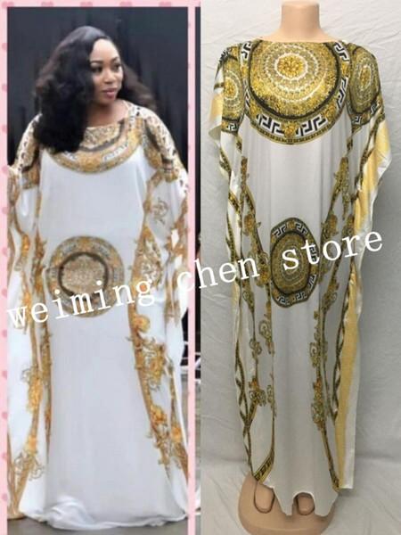 Longueur de robe: 140cm Poitrine: 116cm Manches longues style lâche à rayures style dashiki robes longues pour dame / femme