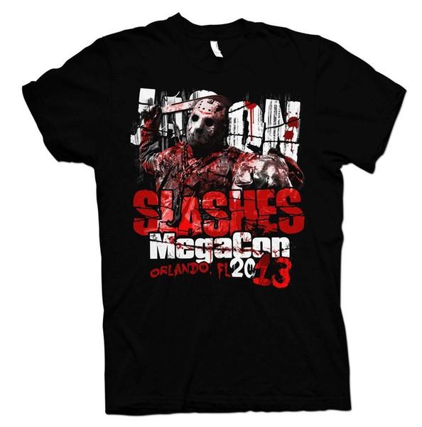 MEGA CON 2013 Viernes The Jason Voorhees Camiseta Envío gratis de Halloween Imprimir Camiseta Hombres Hot top tee Camisetas de algodón para hombres