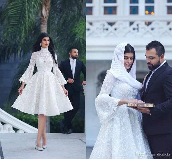 Saudi Arabic 2019 White Lace Wedding Dresses With Illusion Long Sleeve Knee Length Bridal Gowns High Neck Custom Plus Size robe de mariée