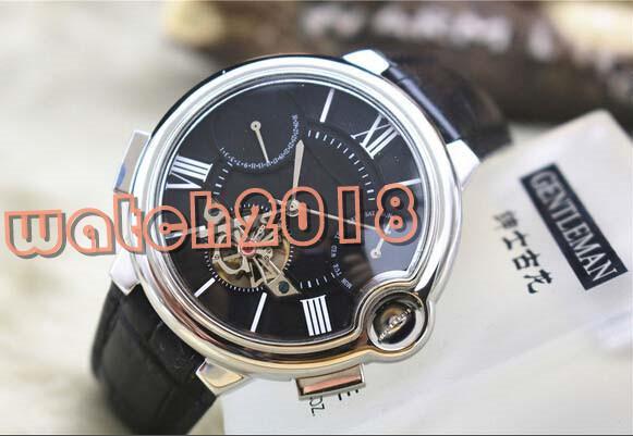 Роскошные часы лучшее качество мужские черный турбийон дизайн автоматические механические мужские мужские кожаные наручные часы