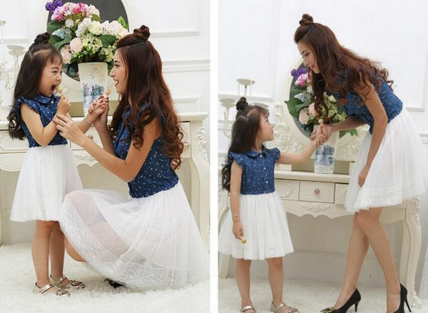 Mother Daughter Dresses 2018 Summer Family Clothing Mom and Daughter Dress Family Matching Outfits Dress for Kids and Women