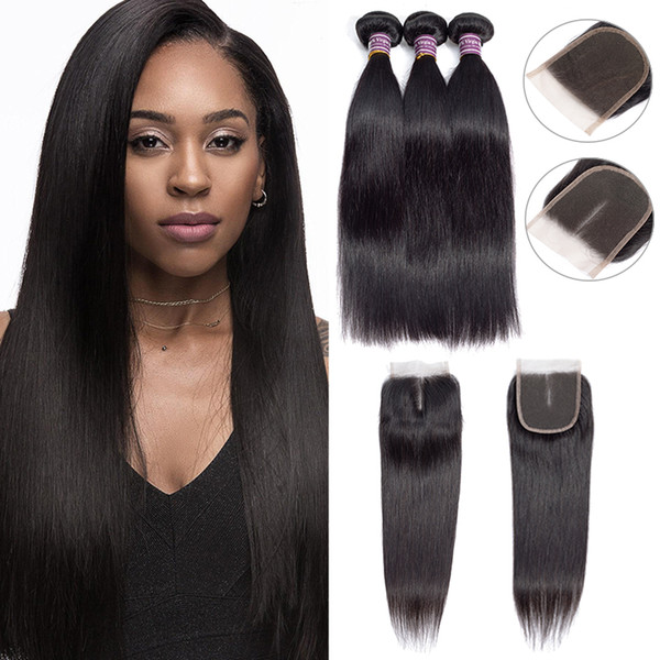 top popular 8A Brazilian Straight Human Hair Bundles With Closure 100% Unprocessed Virgin Body Wave Bundles with Lace Closure Remy Human Hair Weave 2021