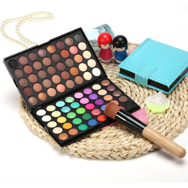best selling The 80 color eye shadow palette professional 2 - layer color makeup pan pearl light earth color matte eye shadow.