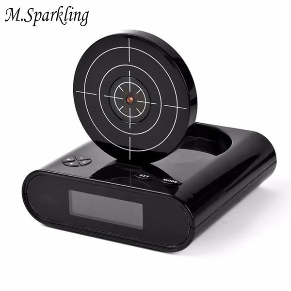 M.Sparkling Shooting Alarm Clock Kids Toy Desk Clock Lazy Living Room Watches Mute Wake Up Game Alarm Clocks Gun Shooting Toys