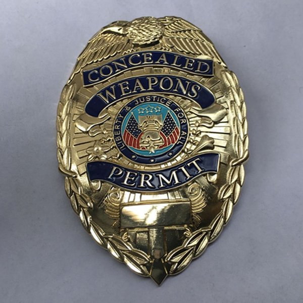 1 Pcs The collectible brand new Concealed Weapon Permit badge gold plated colored 78 x 55 x 2 mm USA badge 3D metal medal