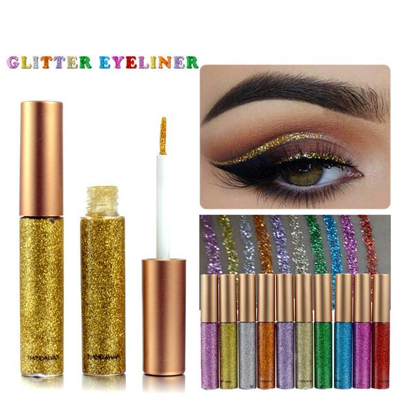 2018 Trucco di Marca HANDAIYAN 10 Colori Waterproof Liquid Eyeliner Glitter Ombretto Evidenziatore Make up Eye Liner DHL Spedizione Gratuita