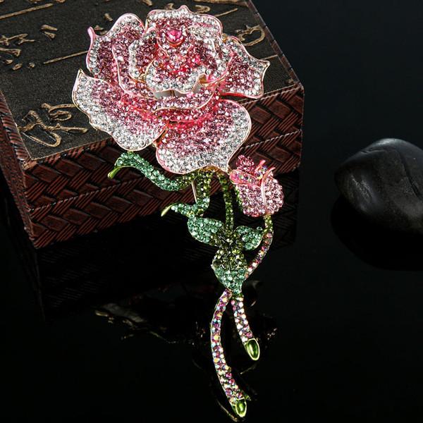 wholesale Big Size Rose Flower Brooch For Women Wedding Jewelry Pink Crystal Brooches Bijuterias Fashion Women Enamel Hijab Pins