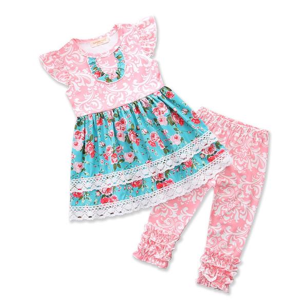 Çiçek Çocuk Giyim Setleri Bebek Kız Çiçek Uzun Elbise Tops + Fırfır Tozluk Pantolon 2 ADET Kızlar Set Yaz Çocuk giyim Kız Giysileri