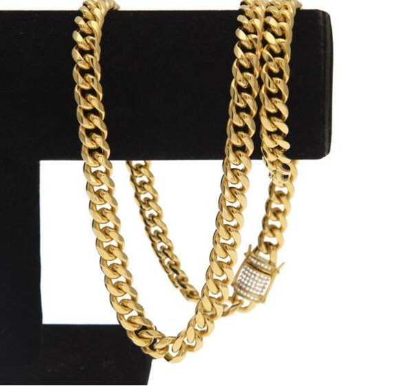 76cm Hip-hop high-quality stainless steel 10MM12MM Cuban chain vacuum gold-plated Lad diamond casting buckle men's necklace