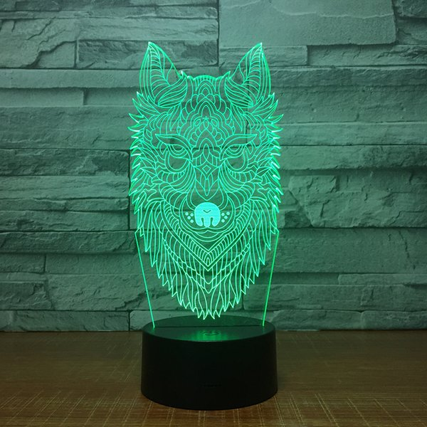 New Wolf 3D Illusion Night Lamp 3D Optical Lamp 5th Battery USB Powered 7 RGB Light DC 5V Wholesale Free Shipping