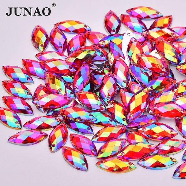 JUNAO 500pcs 7*15mm Sewing Red AB Horse Eye Rhinestones Flatback Acrylic Gems Fancy Strass Crystal Stones for Needlework Dress Crafts