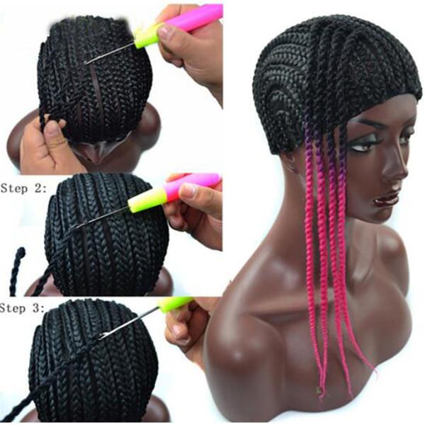 Gorras de peluca de cornrow para hacer pelucas de color negro tejido de ganchillo trenzado gorro de encaje elástico redecilla para peluca que hace herramientas