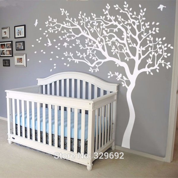 2018 HOT Huge White Tree Wall Decal Sticker Wall Decals Nursery Tree Stickers For Kids Rooms 213X210CM Tattoo Gift