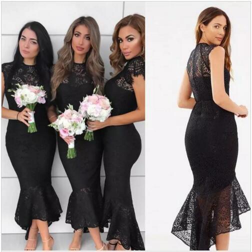 2018 Mermaid Land Brautjungfer Kleider Boot Ausschnitt High Low Brautjungfern Kleider mit Spitze Reißverschluss für Hochzeit