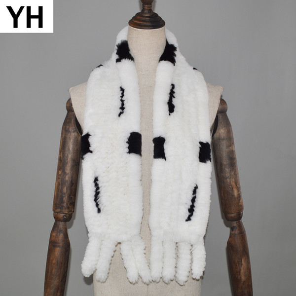 2018 New Style Real Natural Rex Rabbit Fur Scarf Winter Knitted Rabbit Fur Ring Scarves Women Real Rex Scarves Shawl