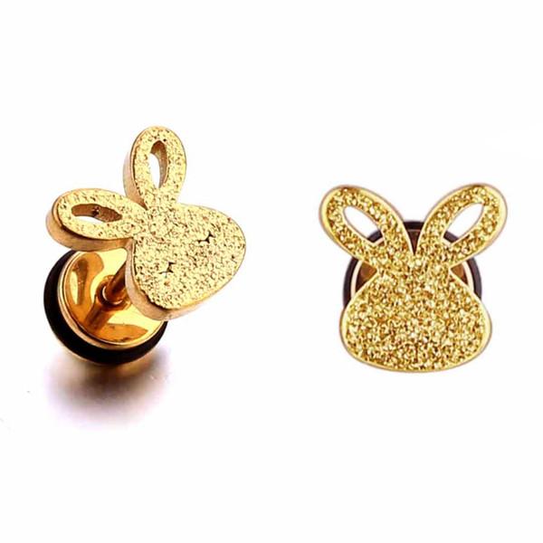 Hot selling cute rabbit earrings stainless steel fashion body jewelry women animal shaped stud earrings piercing