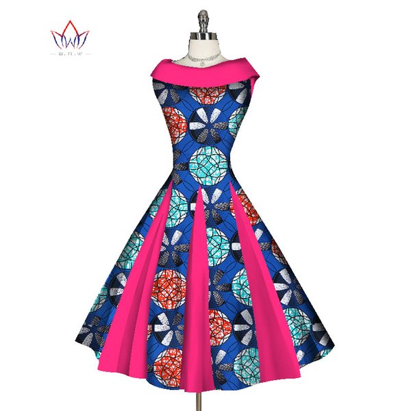 BRW African Dresses for Women Vintage Dresses Party Clothing Print Clothing Audrey Hepburn Sleeveless Summer Retro Dress WY1172