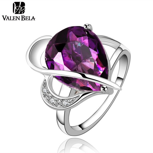 ($1 OFF per $3) VALEN BELA fashoin purple finger ring austrian crystal anillos anel White Color womens rings bijoux JZ5100