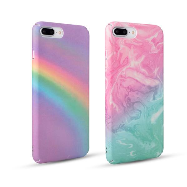 100pcs Fashion Colorful Gradient Rainbow Phone Case For iPhone 6 6S Plus 7 8 X Matte Hard Plastic Back Cover Case PH41