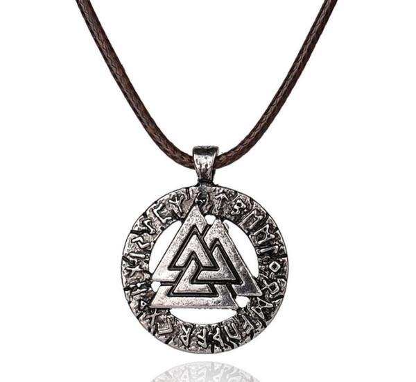 10Pcs Slavic Norway Valknut Pagan Amulet Pendant Men Necklace Scandinavian Jewelry Odin 's Symbol Of Norse Viking Warrior Whosale