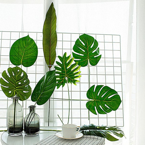 Fleurs artificielles pour le mariage Large Artificial Fake Monstera Palm Tree Leaves Green Plastic Leaf for Gift Box
