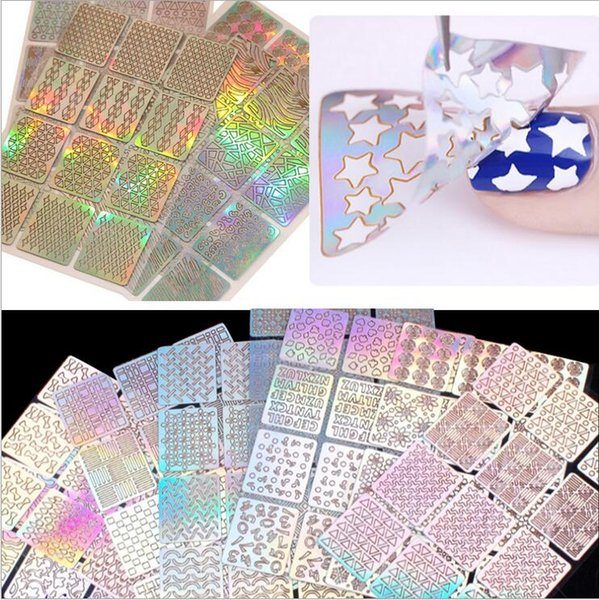 3pc 6pc 12pc 24pc Sheets/set Nail Art Hollow Laser Silver Sticker Stencil Gel Polish Nail Vinyl Tip Transfer Guide Template