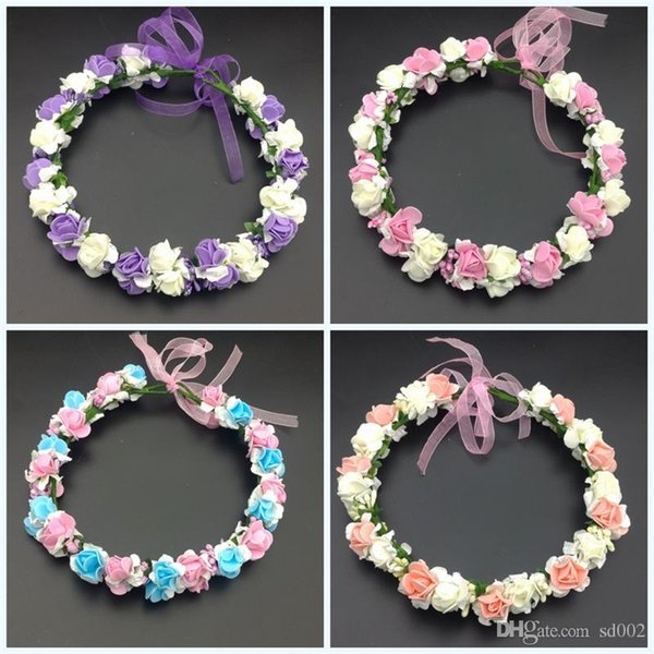 Pe Foam Princess Flower Crown Head Ornaments Artificial Flowers Wedding Garlands Colorful Hair Band Girl Accessory Fashion Wreaths 8zl jj