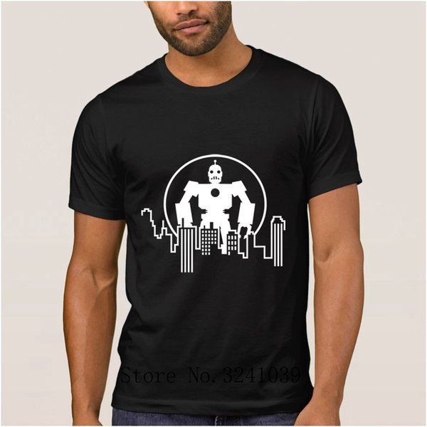 Funny giant robot skyline mens t shirt Android contrast collar hit color mens t-shirt mens Euro Size S-3xl regular tshirt