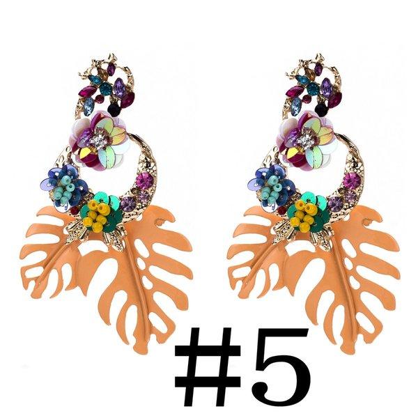 Bohemian Leaf Shaped Paillette Earrings Diamond-studded Floral Design Earrings