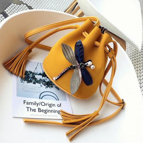 Summer new women's bags 2018 Korean version of the scrub bucket bag casual pumping shoulder bag fashion Messenger bag