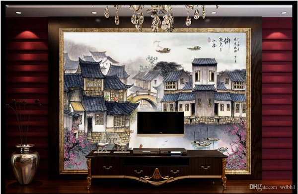 3d room wallpaper custom photo non-woven Jiangnan Water Town Gongbi Chinese Painting Landscape with Engraving murals wallpaper for walls 3 d