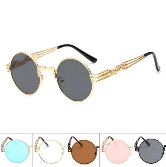 Round Metal Sunglasses Steampunk Eyewear Unisex Fashion Glasses Brand Designer Retro Vintage Sunglasses Outdoor Eyewear CCA9312 10pcs