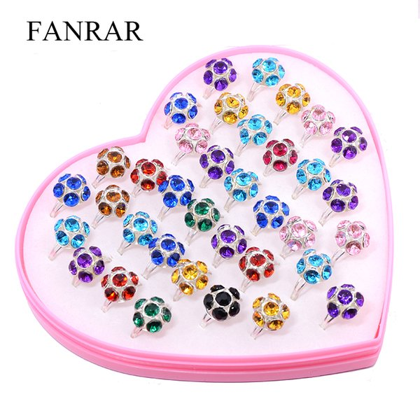 New Arrival 36Pcs Mixed Lovely Football Semicircle Rhinestone Ring Girls Kids Children Crystal Ring Wholesale Adjustable Jewelry