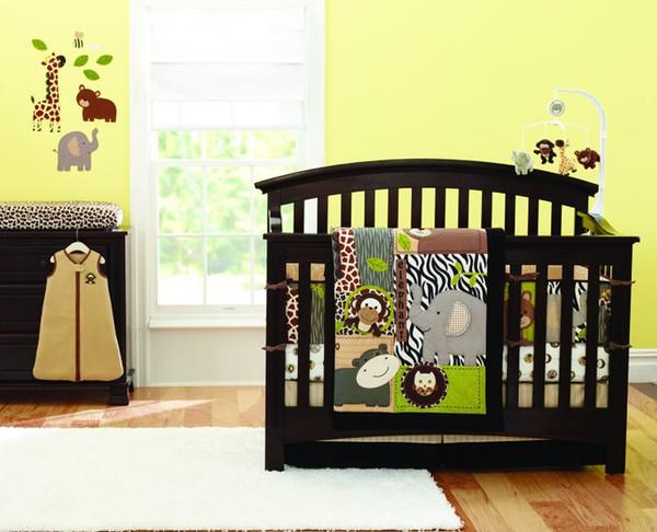 7 pieces Boy Cot bedding set Baby Quilt Crib bedding set animal Bear Giraffe Owl Pure cotton Comforte baby bedding set