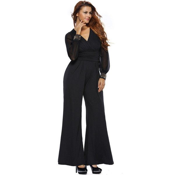 Women Jumpsuits Rompers Womens Clothing Fashion Party Wear V-neck Embellished Cuffs Mesh Sleeves Loose Club Pants Black Red Blue